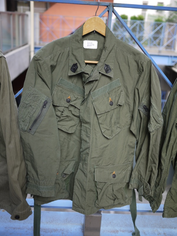 "60′s ~ 70's ""US Army"" Jungle Fatigue Jacket Cotton Poplin Rip Stop 4th 001"